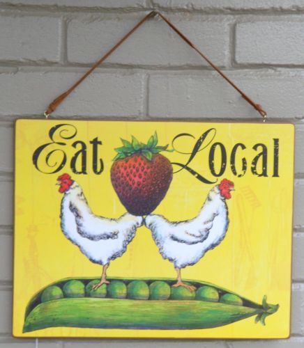 """New Demdaco Wall Plaque Titled """"Eat Local"""" Designed by Megan Halsey   eBay"""