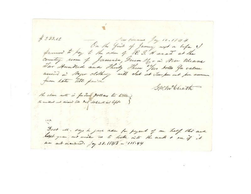 2 documents incl a NO, LA promissory note dated January 10, 1844 - basic promissory note