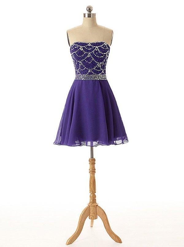 Simple-dress 2015 A-line Strapless Mini Chiffon Beading Homecoming Dress/Party Dress CHHD-81165
