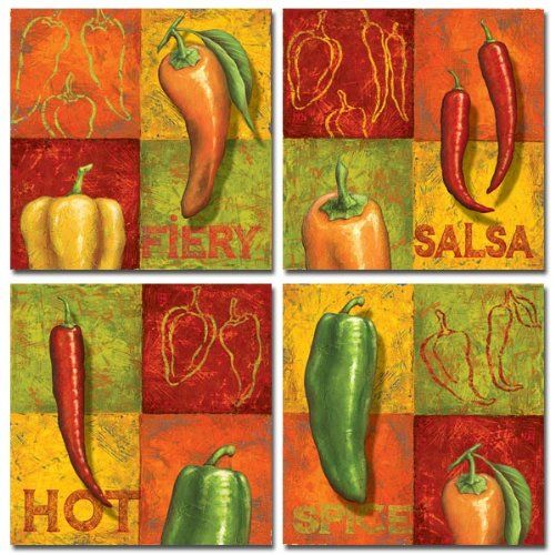 Set Of 4 Hot Pepper Prints Spice Chili Cooking Kitchen By Delphine Corbin 8 X 8