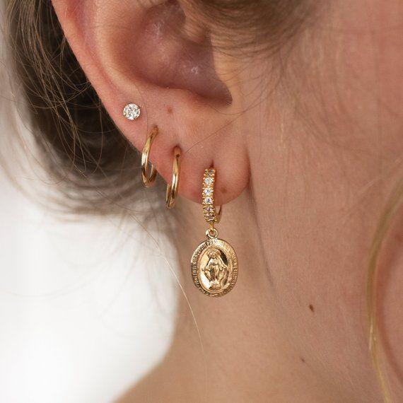 Gold Hoop Earrings, Hoop, Virgin Mary Medallion, C