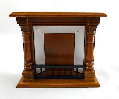 Dolls House Miniature Furniture 1 12 Scale Walnut Wooden Victorian Fireplace 1 12 Scale - Wooden width 105mm - depth 40mm - height 90mm 4 1 8 x 1 9