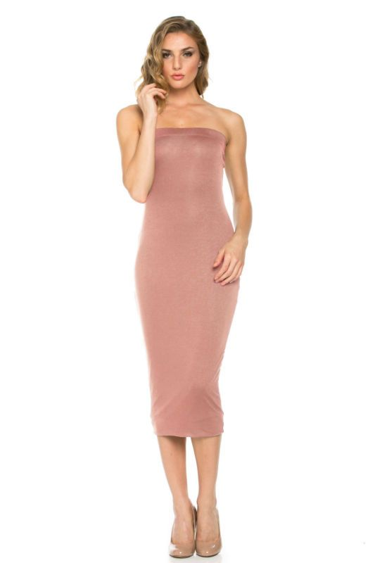 LaClef Women's Every Occasion Comfort Summer Solid Midi Tube Dress USA S M L