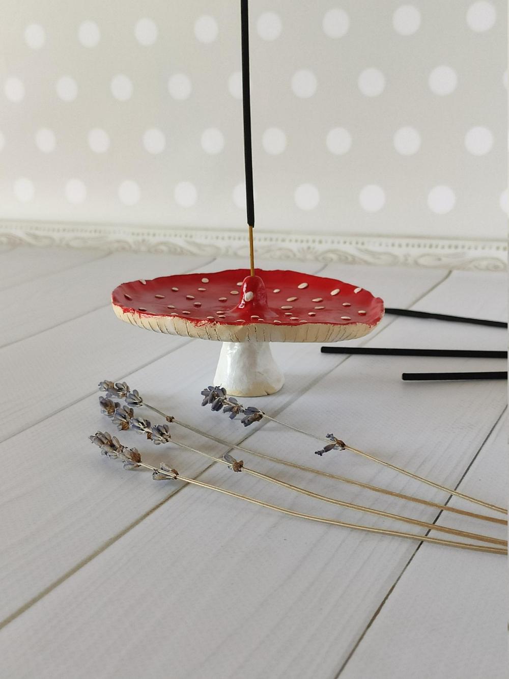 Amanita mushroom incense holder Clay incense holder Incense sticks Meditation gifts for women