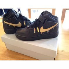 Black Gold Drip Af1s Air Force One High Tops Nike Shoes Women