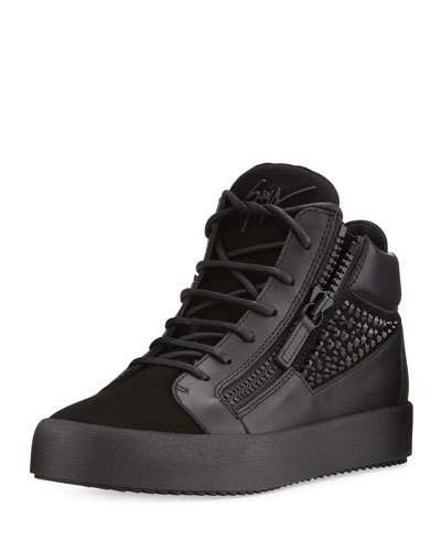 Giuseppe Zanotti Crystal Detail Leather Suede Mid Top Sneaker Black Modesens Suede Shoes Men Black Leather Shoes Men Mid Top Sneakers