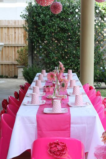 Pink Fairy Princess Birthday Party table setting | Kid stuff ...