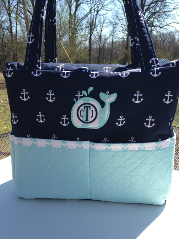 Custom Nautical Diaper Bag With Whale Lique By Craftyjuju