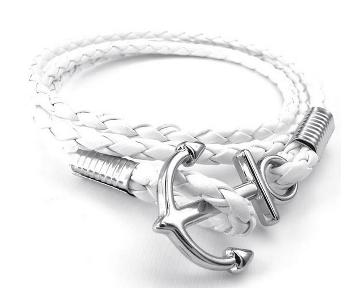 White Braided Leather Anchor Bracelet Leather bracelets