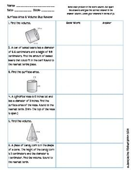Surface Area And Volume Glue Review Geometry Pinterest Math