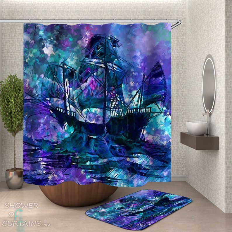 Art Ship Shower Curtain - HXTC0904