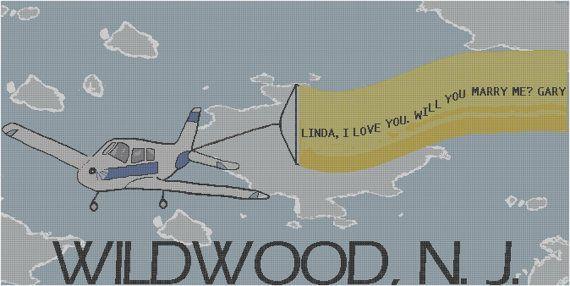 #countedcrossstitch #airplane #banner #proposal #pattern #diy