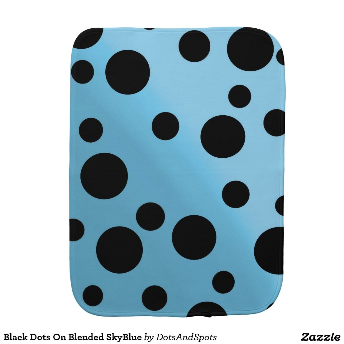 Black Dots On Blended SkyBlue Baby Burp Cloth