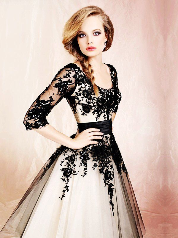 6e44f8ee6c7 Fansinating Black Lace Ball Gown Round Neckline Half-sleeves Knee Length  Prom Dress -SinoSpecial.com