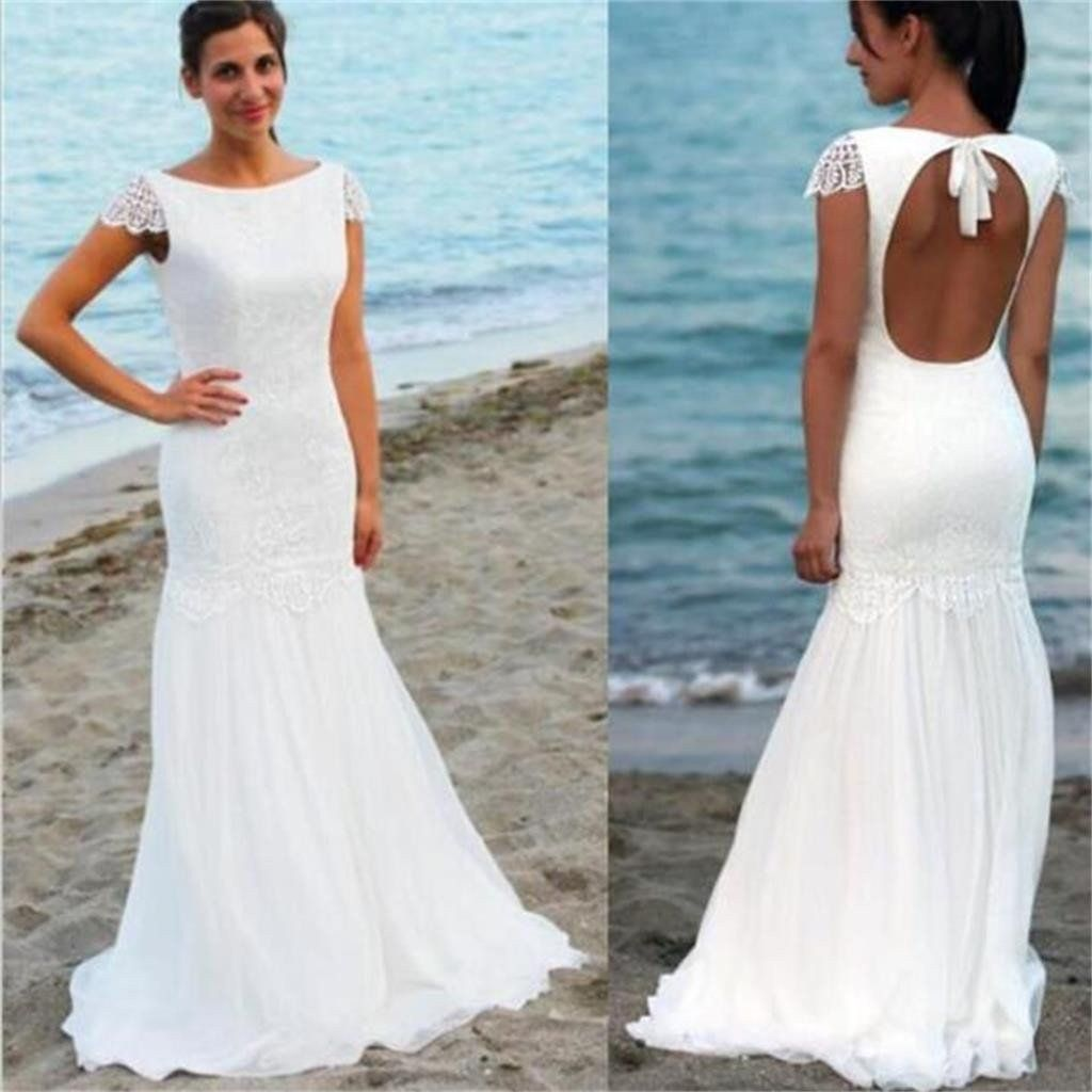 Scoop neckline cap sleeve long mermaid lace chiffon open back