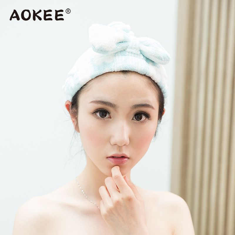 AOKEE Microfiber Fabric Drying Hair Towels Thick Hair Drying Hat ...