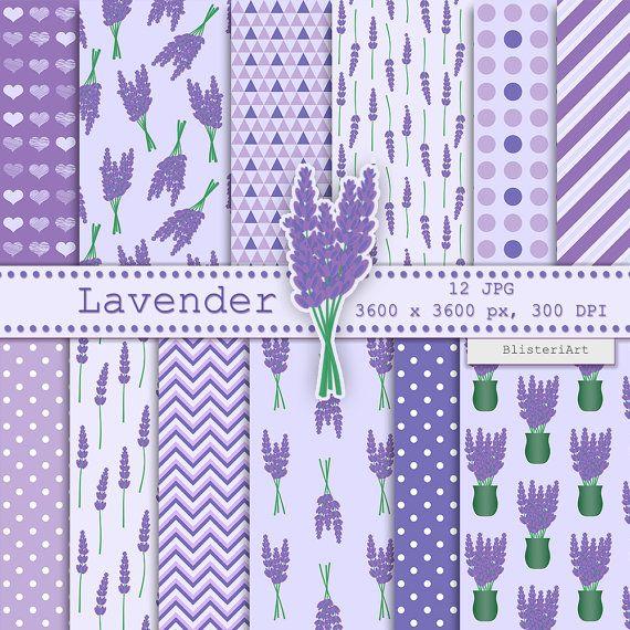 Lavender digital paper  12 printable backgrounds от BlisteriArt