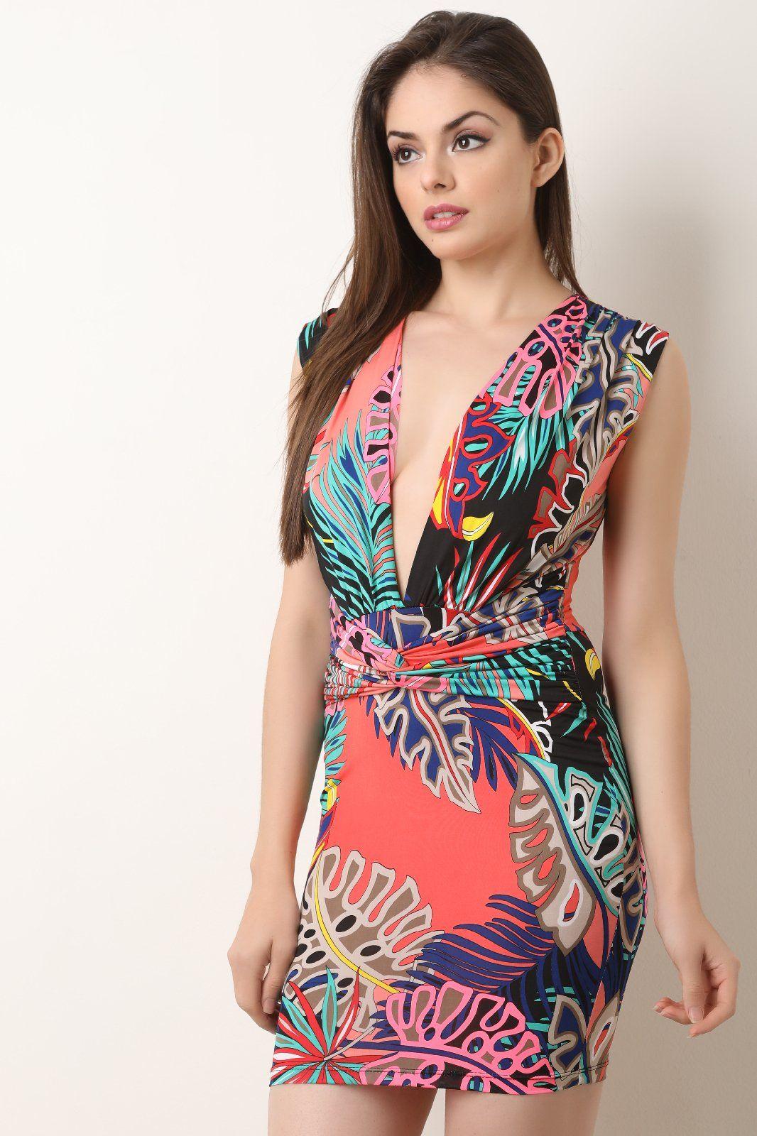 Tropical Leaf Plunging Neckline Mini Dress in 2018  1fa5ff0cd7