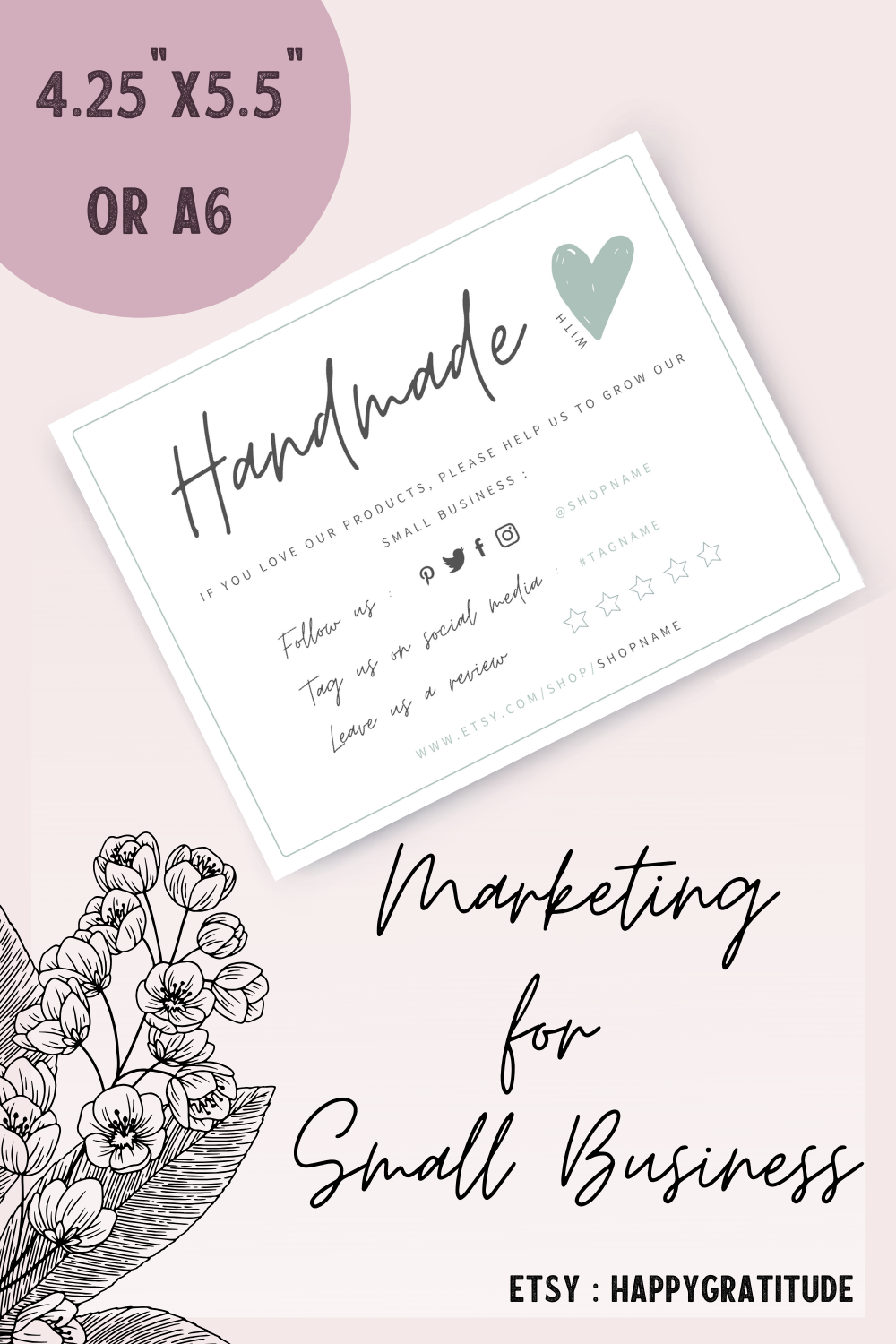Editable Care Use Instructions Card Template Diy Business Card Diy Business Cards Business Thank You Cards Thanks Card