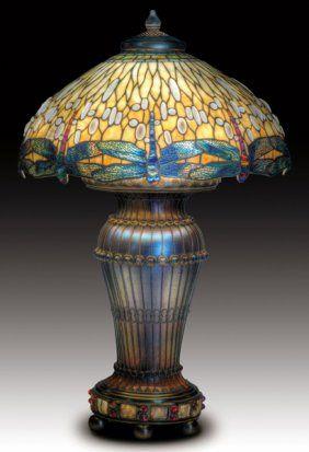 TIFFANY STUDIOS Drop-head Dragonfly lamp. Moorish base with jewels.