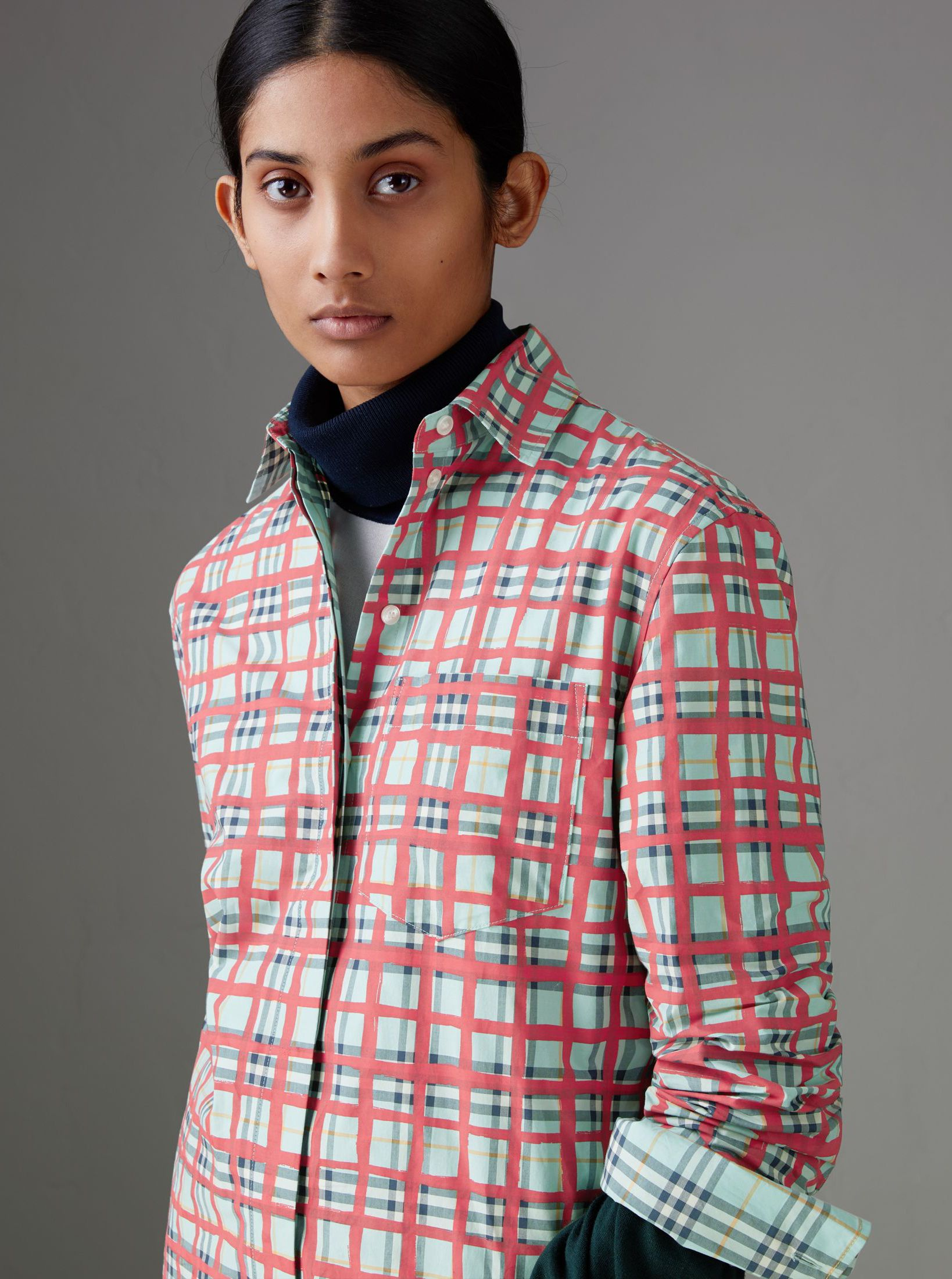 Flannel shirt women  A Burberry cotton shirt cut slim in bold overlapping check with