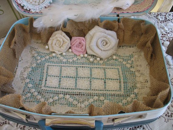 Vintage Suitcase Wedding Card Box Wedding Card Holder Shabby Chic Wedding Country Chic Wedding keepsake box #vintagesuitcasewedding Vintage Suitcase Wedding Card Box Wedding by RusticGlamDesigns #vintagesuitcasewedding