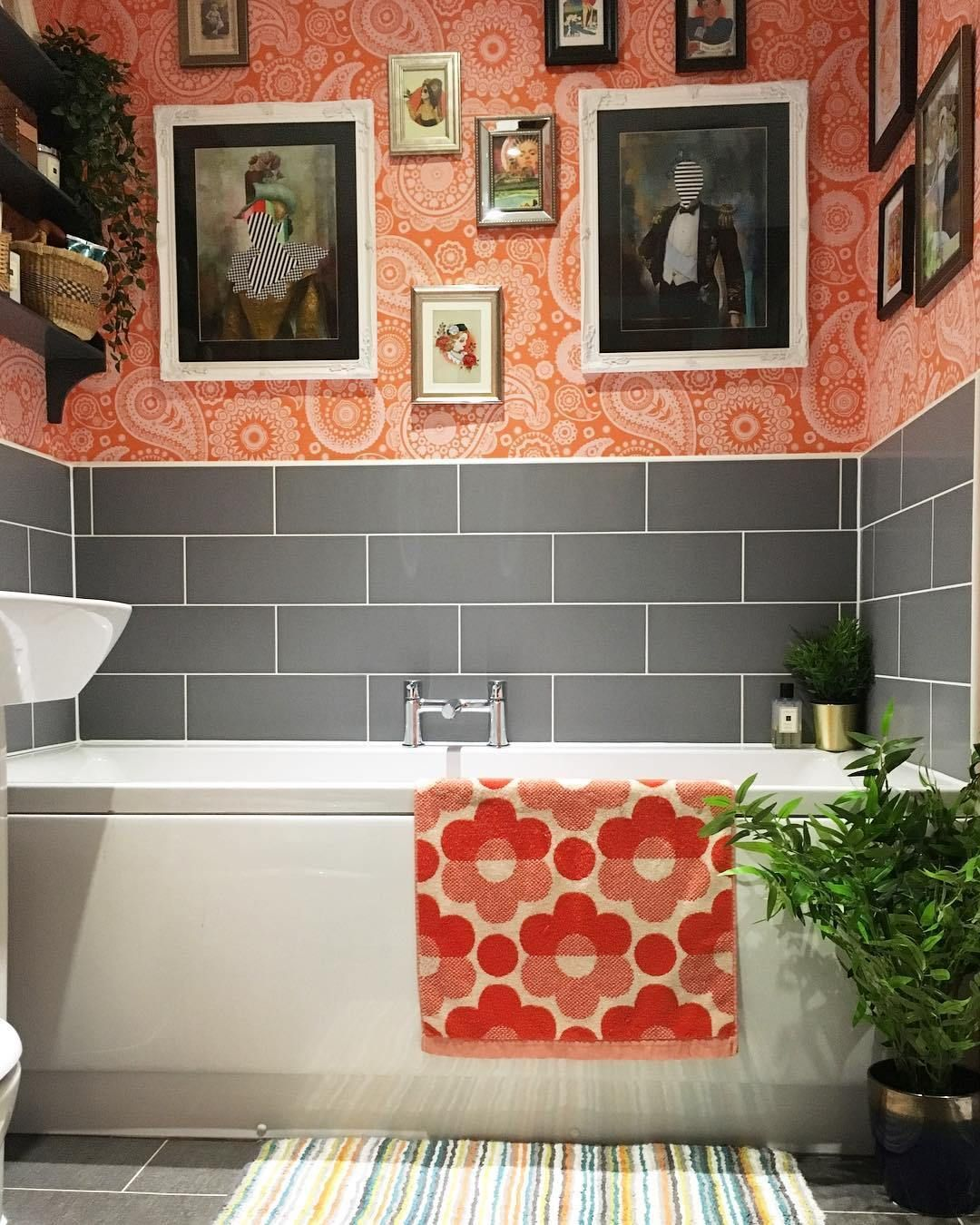 Colorful Ensuite In Grey Tile And Orange Wallpaper This Is Not Your Average Magnolia New