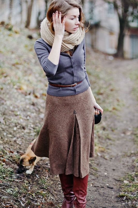 Vintage High Waisted Wool Skirt Via Outcamethesuntumblr