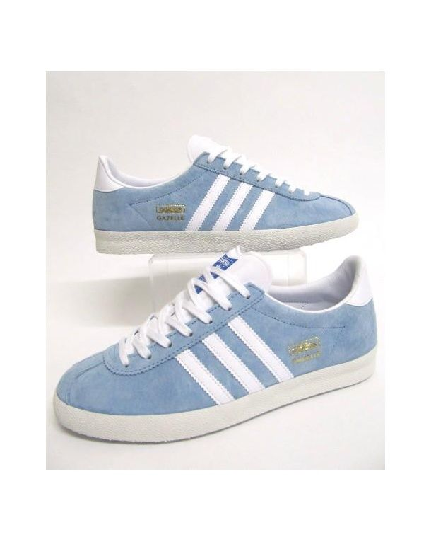 adidas gazelle white leather blue stripe