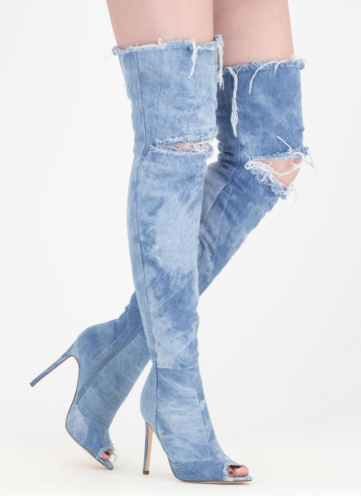 d41c04740e98 Distress Signal Denim Thigh-High Boots GoJane.com