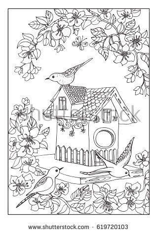 Birds House Coloring Page Con Imagenes Libros Para Colorear