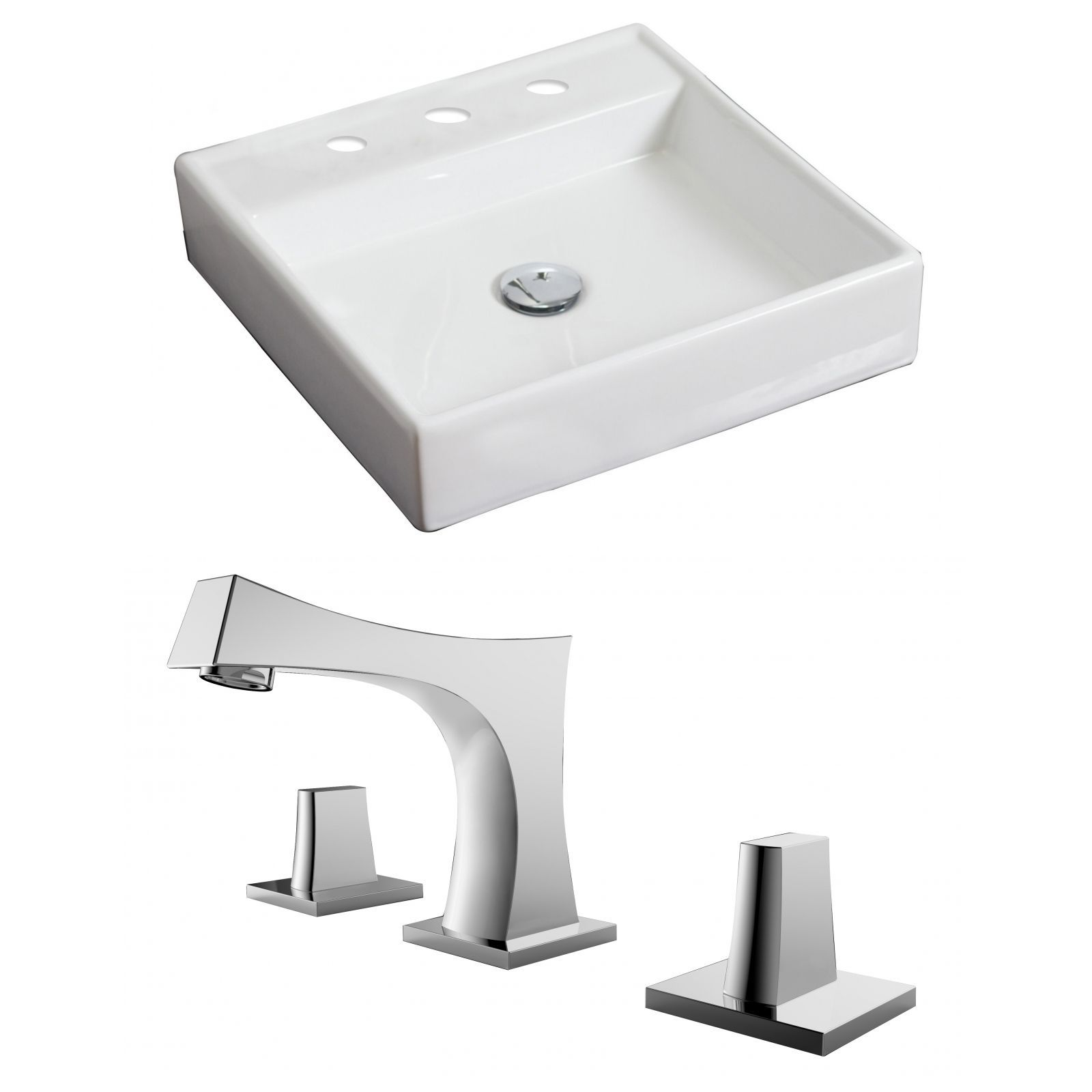 American Imaginations 17.5-in. W x 17.5-in. D Square Vessel Set In Color With 8-in. o.c. Cupc Faucet