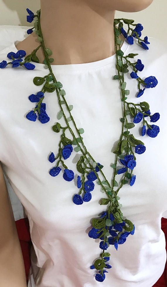 Crochet long collier, morceau de cheveux perles au Crochet, Bracelet de perles de rocaille bleues de Bohème, Vintage Style Crochet Lariat, Anatolie bijoux lavable