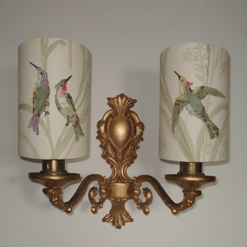 Humming Birds - Handmade, Candle Clip Half Shield Shade for Wall ...