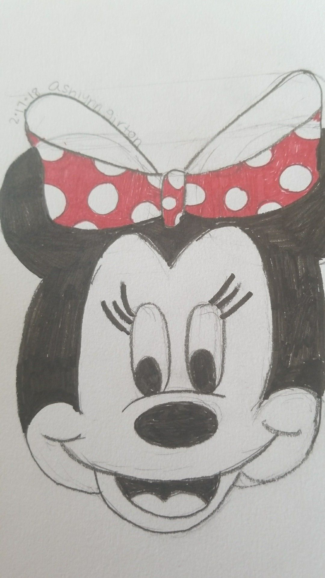 Hand drawing of minnie mouse my drawings pinterest hand