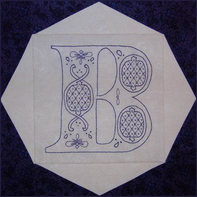 Victorian Initials Bluework Embroidery (the whole alphabet is free with membership)  http://www.victorianaquiltdesigns.com/VictorianaQuilters/PatternPage/VictorianInitials/VictorianInitials.htm #quilting #embroidery #redwork