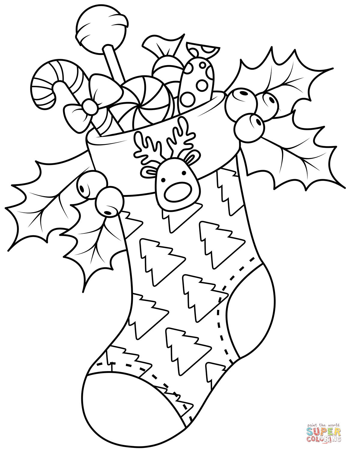 Christmas Stocking coloring page from Christmas Stockings category. Select from ...