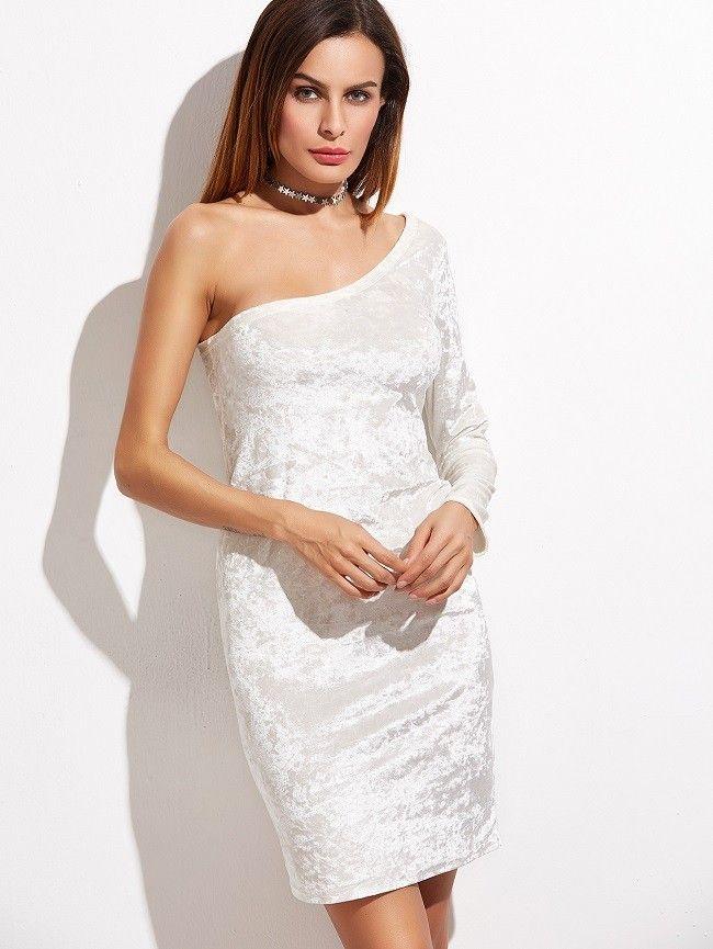 One Shoulder Samt Kleid 2017