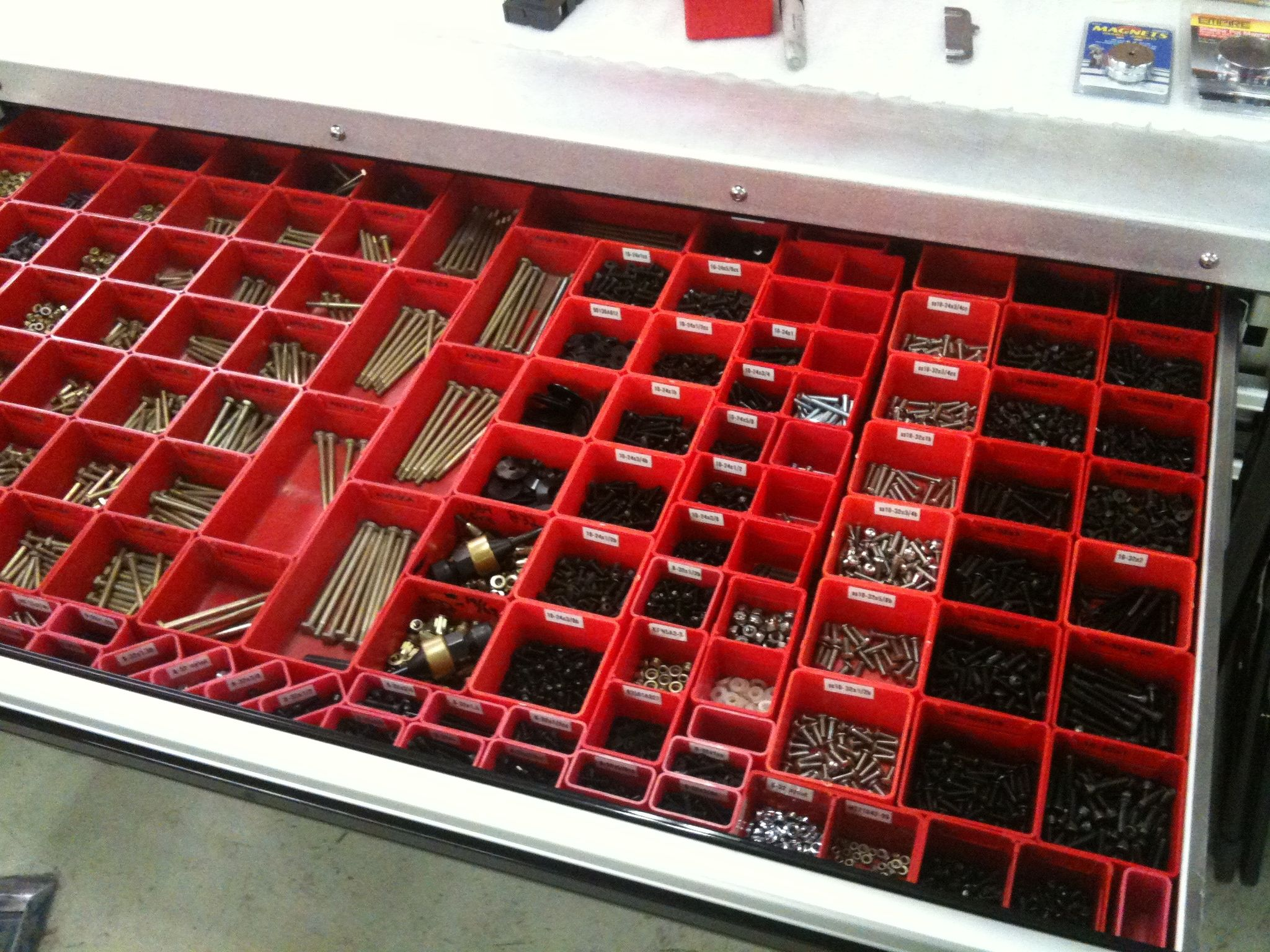 Schaller Corporation Red Plastic Boxes Organize Your Workspace