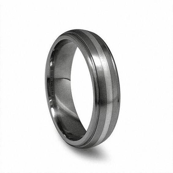 Zales Edward Mirell Mens 6.0mm Polished Domed Wedding Band in Titanium