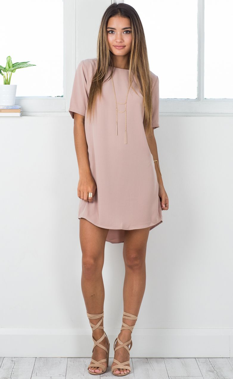 47 Beautiful Casual Dress Ideas for Women -. Love the blush color and the  longer sleeves. Wish it was a little longer tho. 521d4f4a2