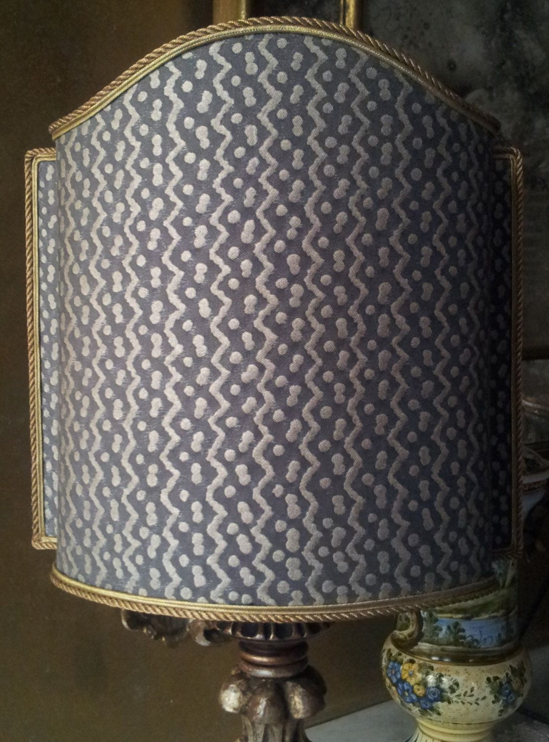 Venetian Lamp Shade Fortuny Fabric Black & Silver Tapa Pattern ...