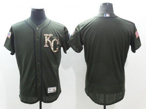 2016 MLB Kansas City Royals Blank Green Salute to Service Stitched Baseball Jersey