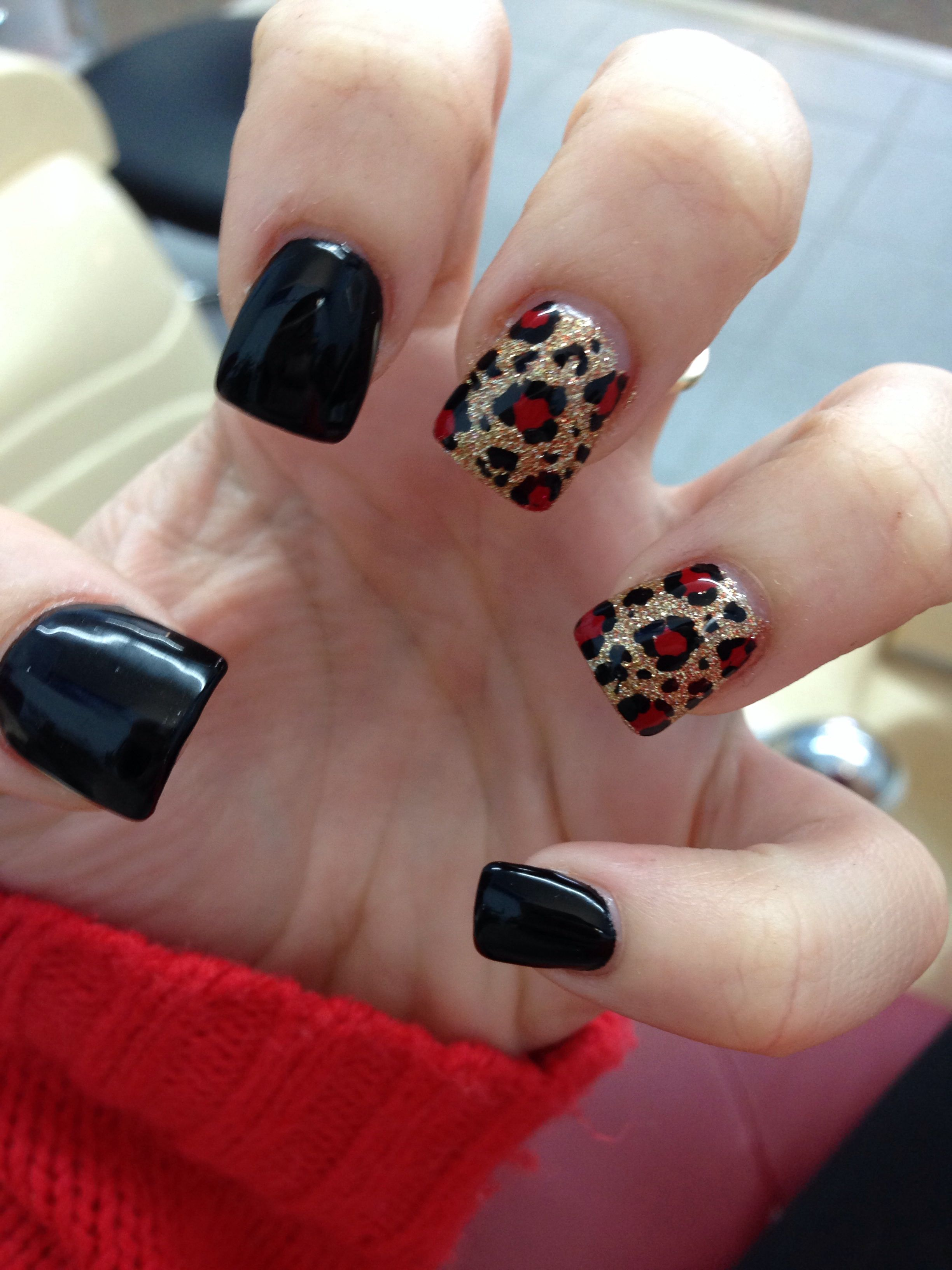 Black gold red cheetah nails I just got, in love | Makeup & Nails ...
