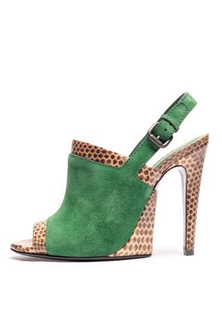 Shoemania I Bottega Veneta I high heel peep toes I bright green suede I exotic leather I high heels I trend @monstylepin