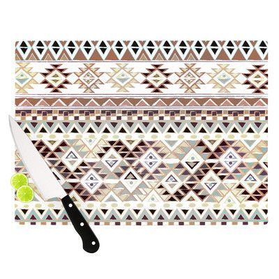 "KESS InHouse Tribal Native in Pastel Brown by Nika Martinez Cutting Board Size: 0.5"" H x 11"" W x 7.5"" D"