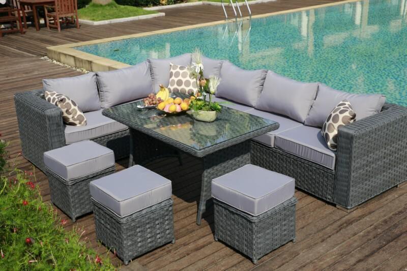 Superb Yakoe Papaver 9 Seater Grey Rattan Corner Sofa Dining Set Cjindustries Chair Design For Home Cjindustriesco