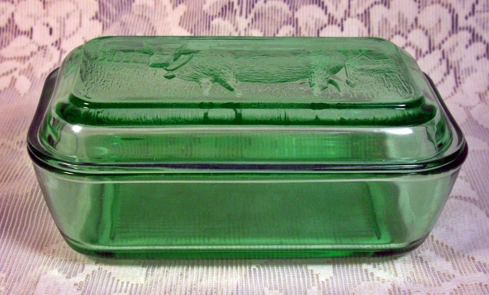 Vintage Style Pressed Glass Covered Butter Dish With Cow Green Glass 16490 Vintage Green Glass Glass Dishes Green Glass