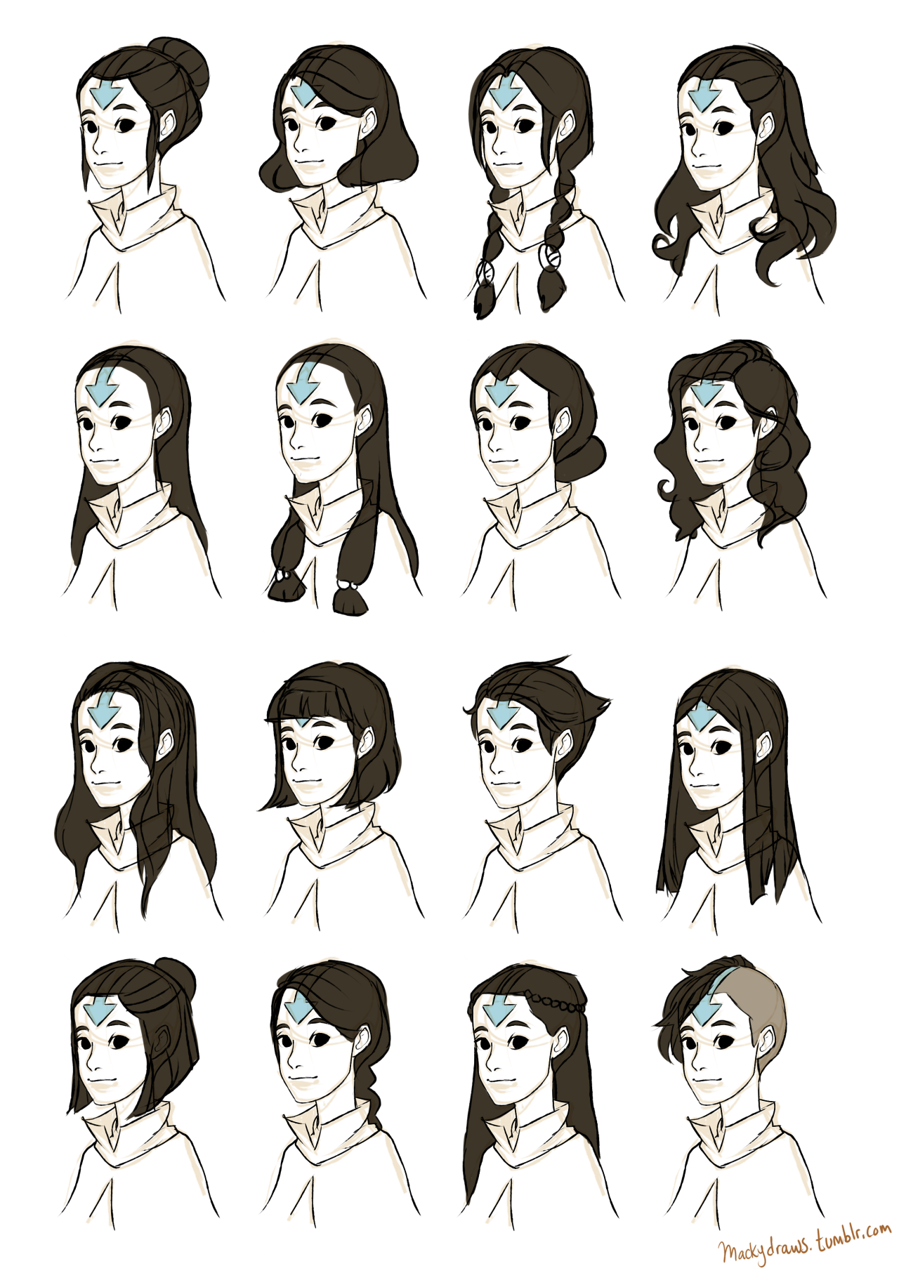Female airbender hairstyle ideas Macky Draws Avatar