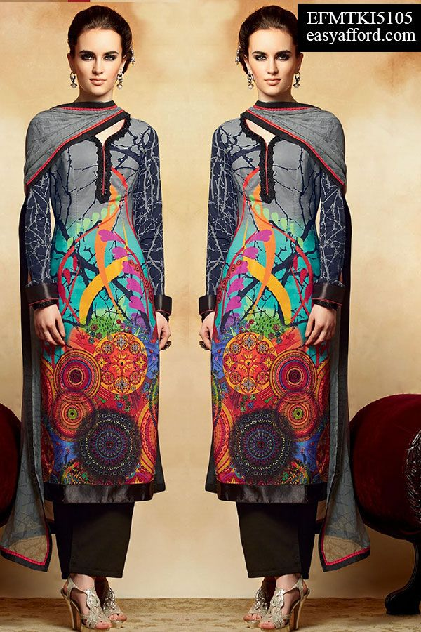 Smashing Grey Printed Palazzo Suit, For Buy Call or Whatsapp 08968017642, 07837409851 or Click the below link http://easyafford.com/salwar-suits/1140-smashing-grey-printed-palazzo-suit.html